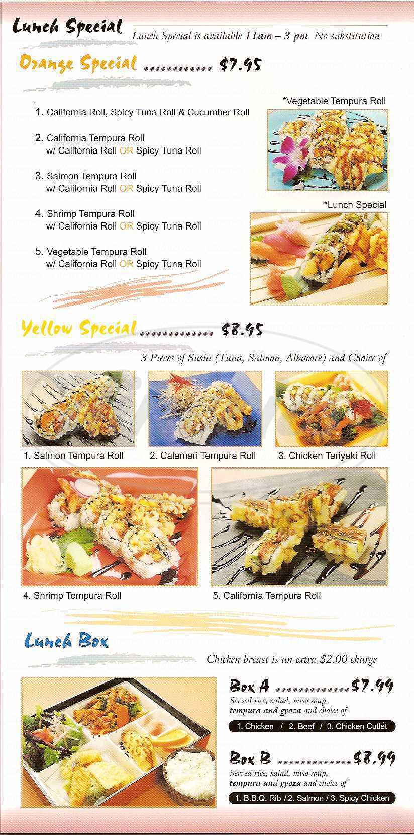menu for C.U. Japanese Fusion