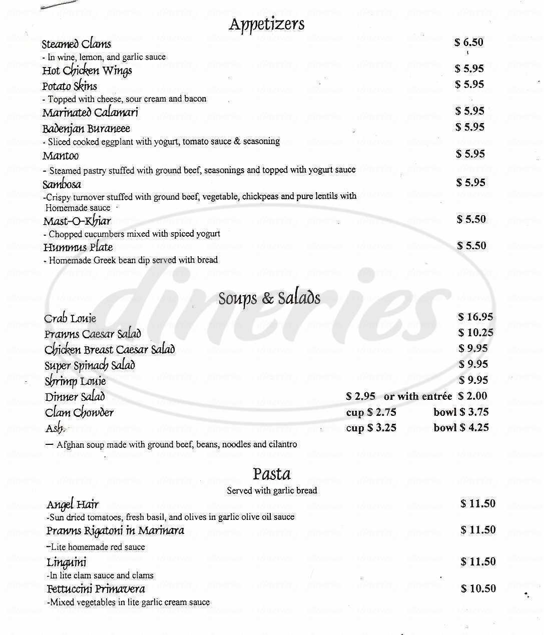 menu for Zazoo's Restaurant