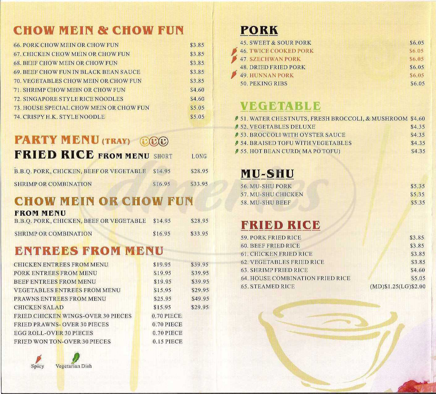 menu for China Lake Express