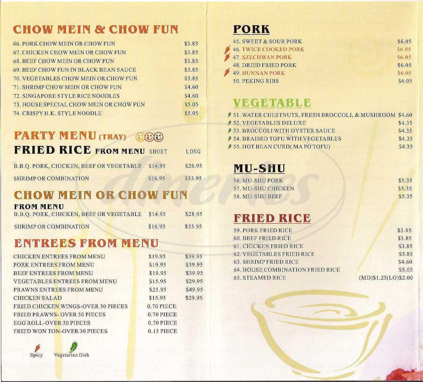 menu for China Lake Express