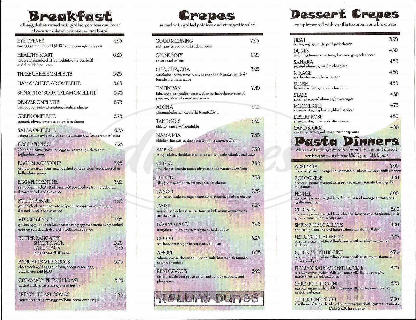 menu for Rolling Dunes