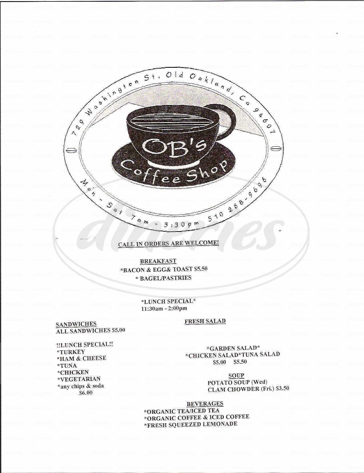 menu for OB's Coffee Shop