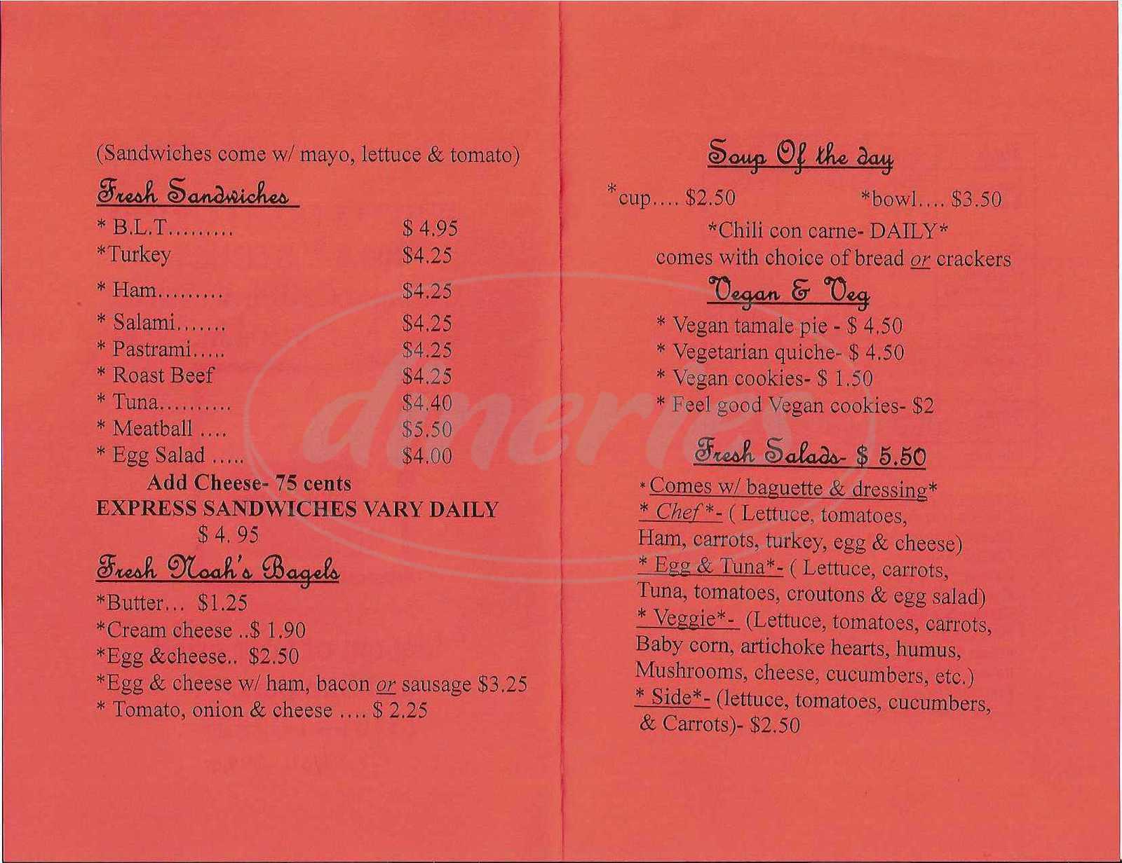 menu for Third Street Grind