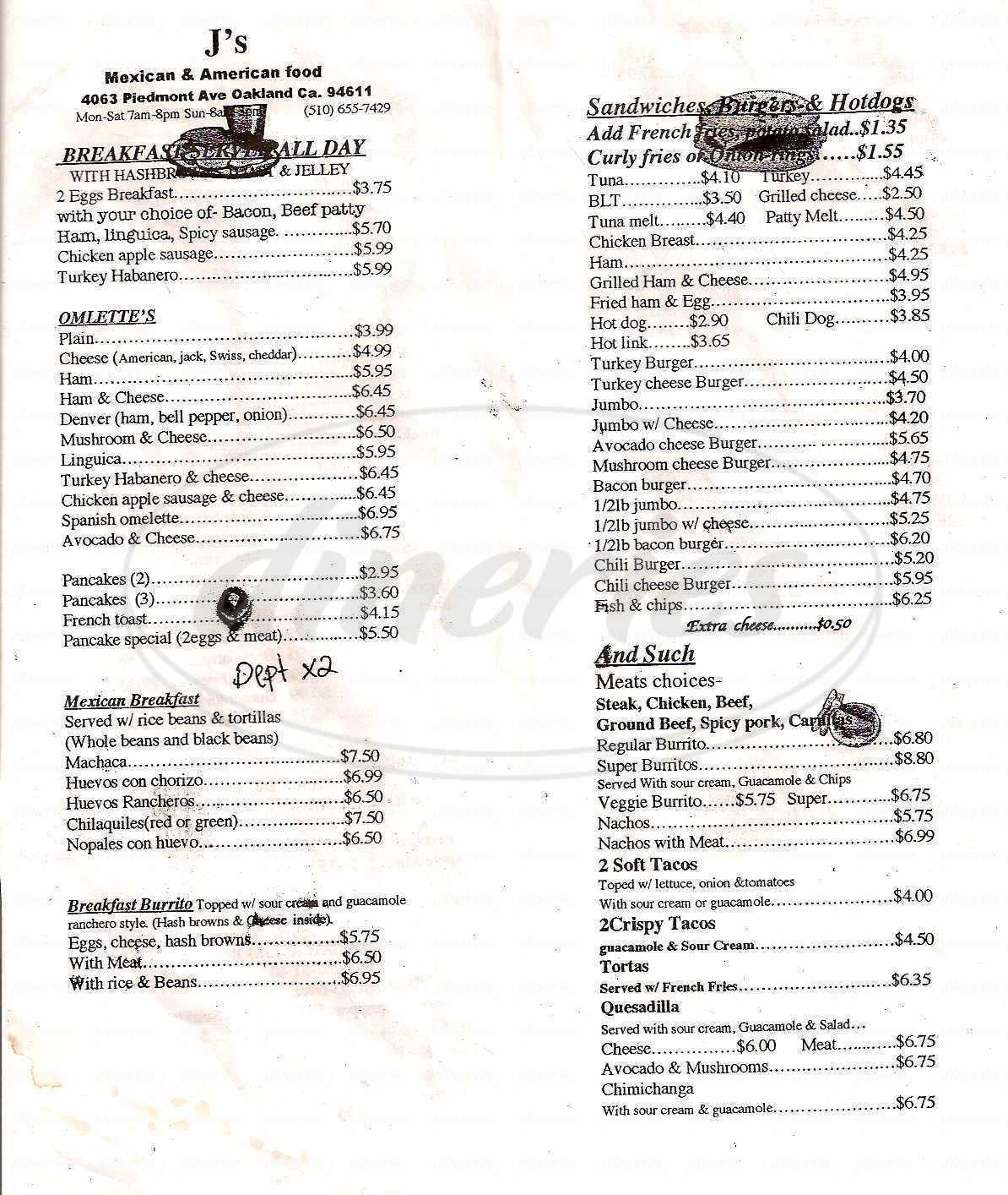 menu for J's