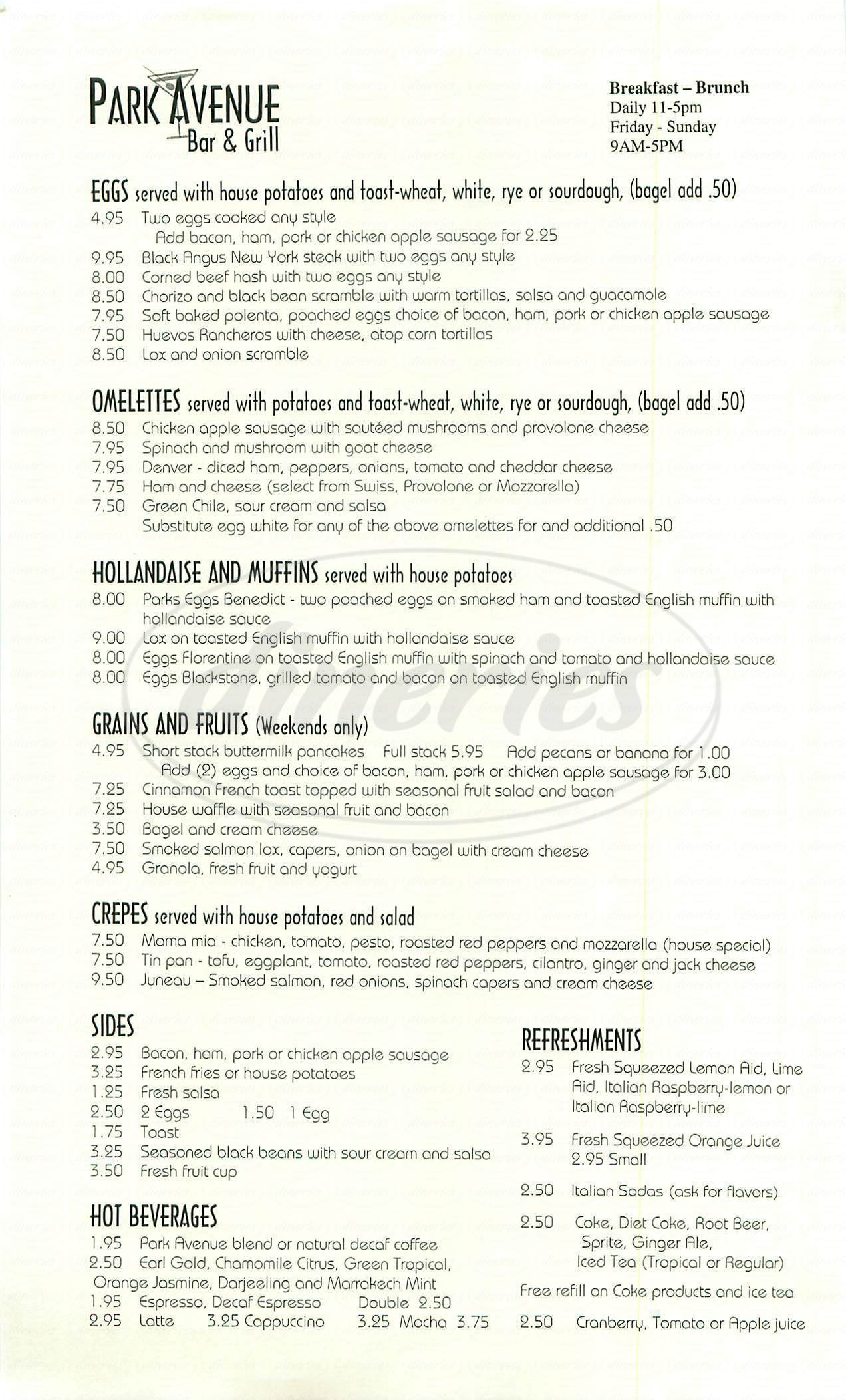 menu for Park Avenue Bar & Grill