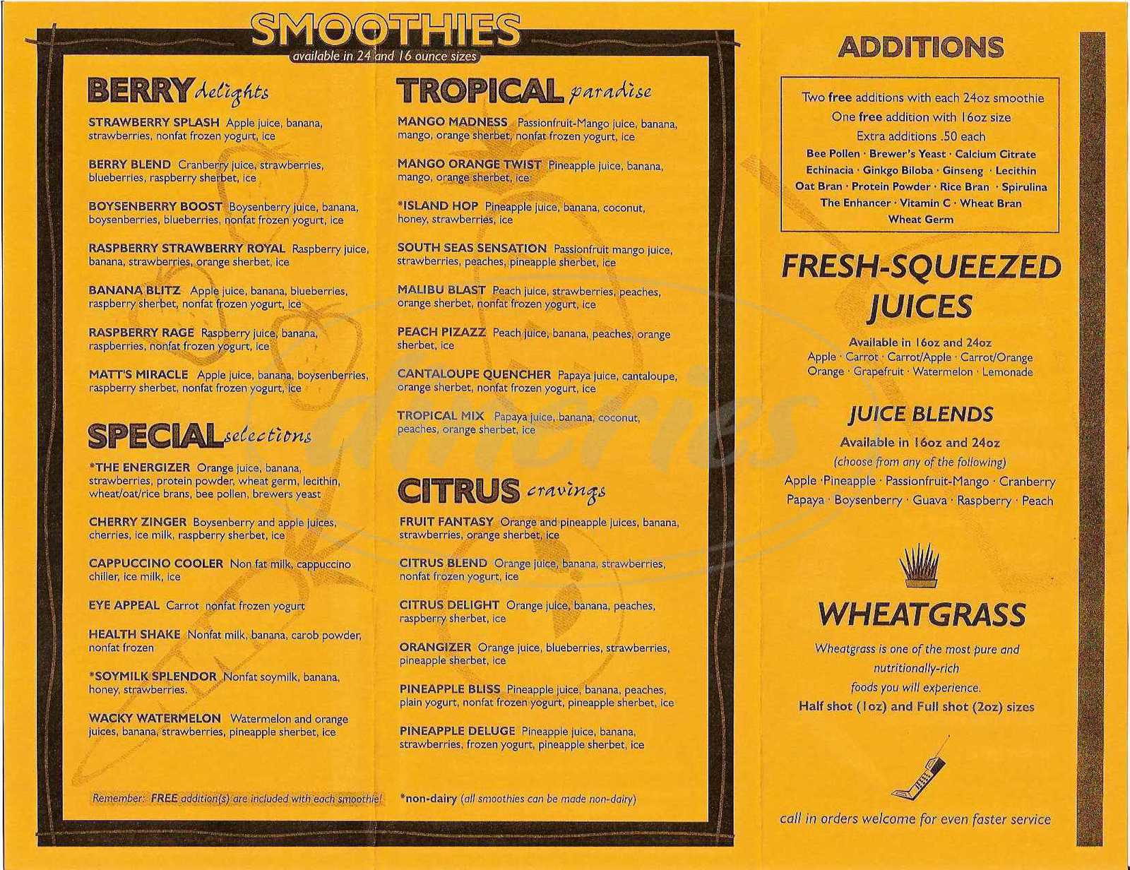 menu for Juice Appeal
