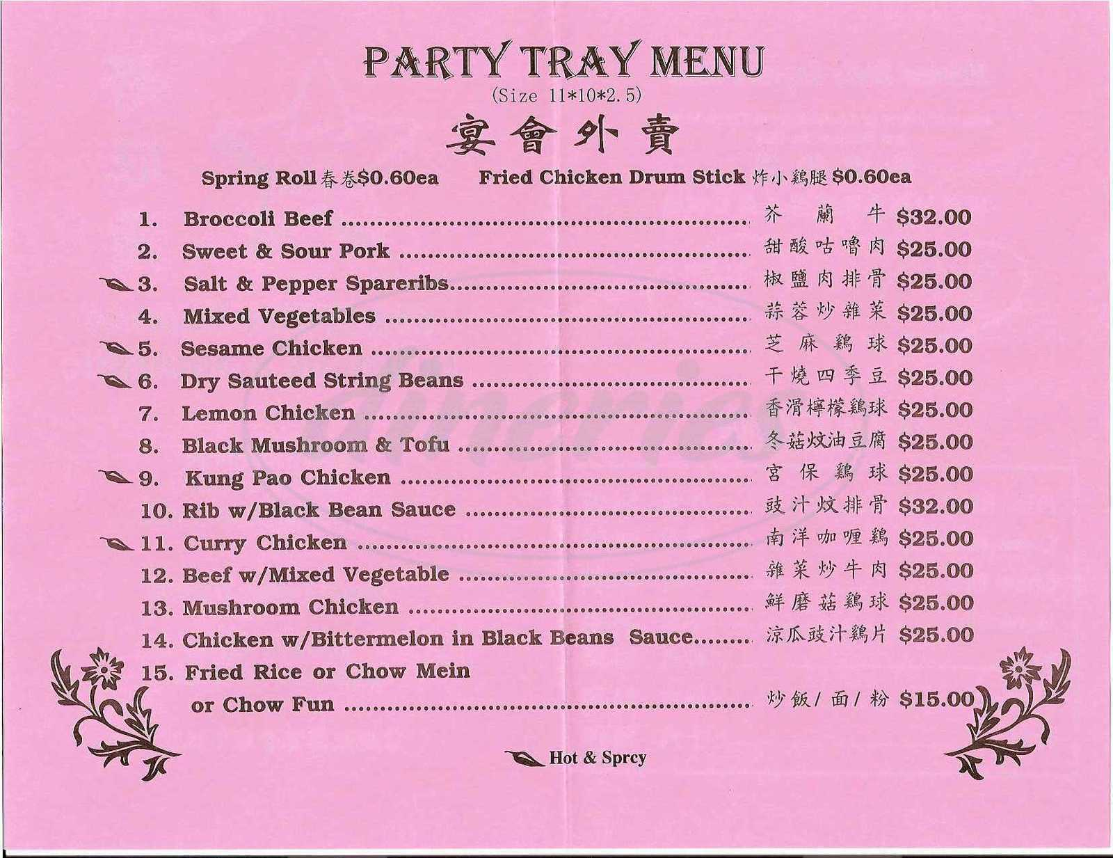 menu for China Star Express