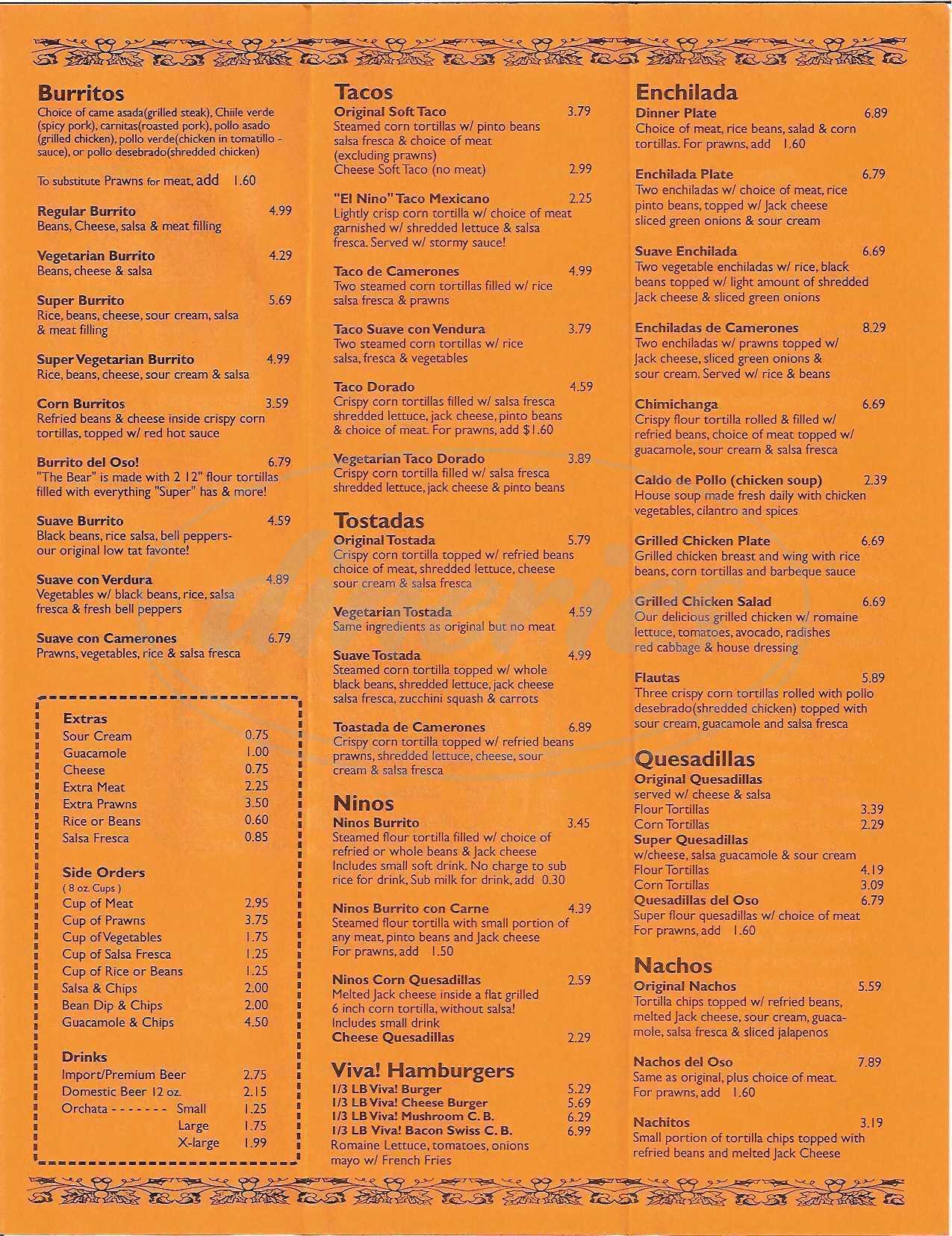 menu for Viva Taqueria