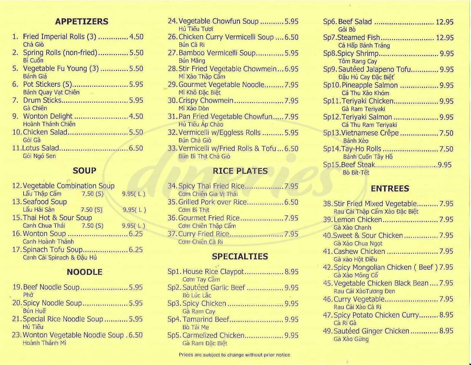 menu for Golden Lotus
