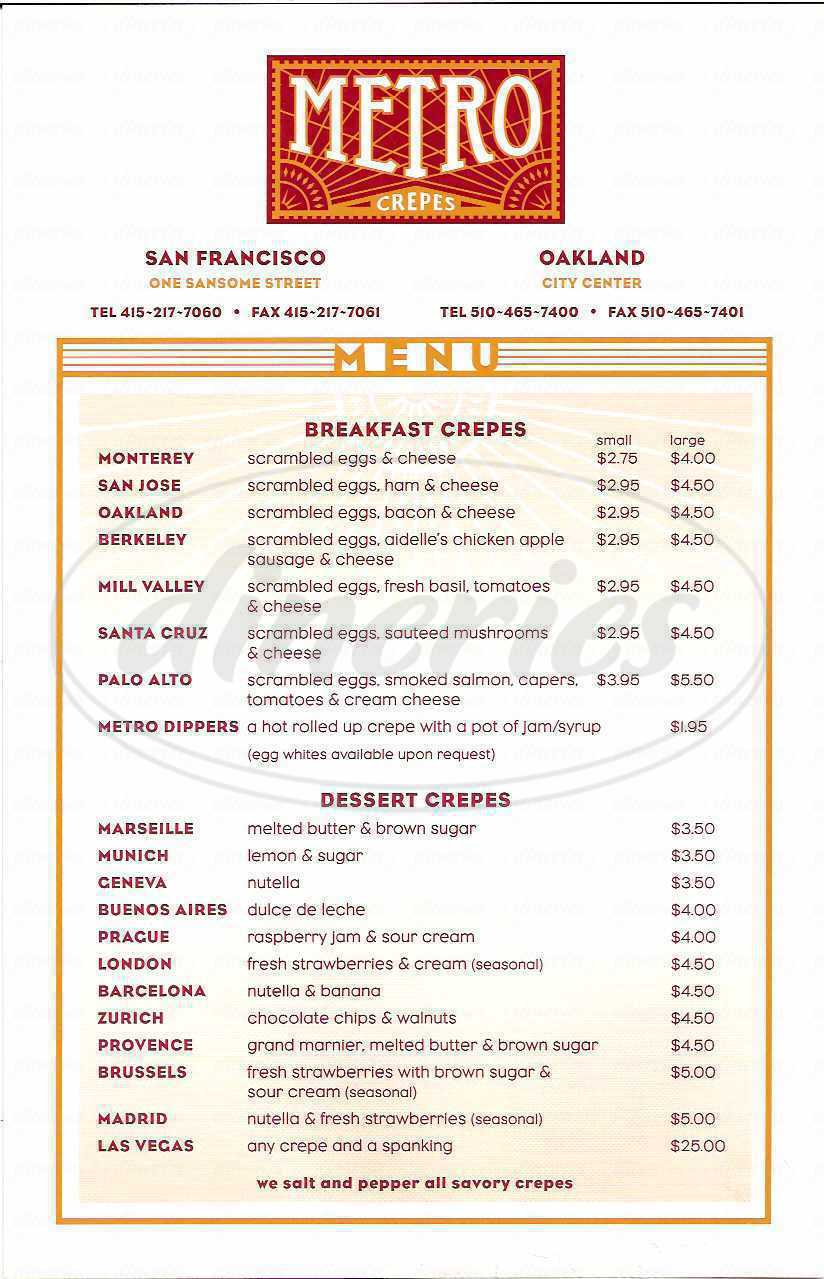 menu for Metro Crepes