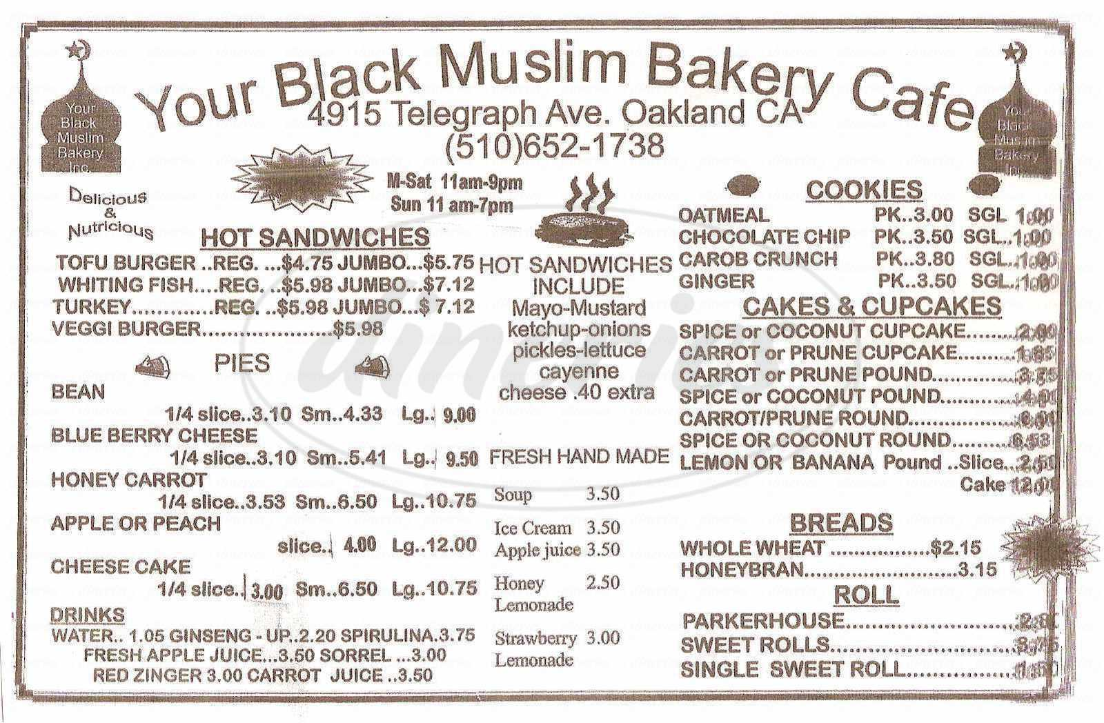 menu for Your Black Muslim Bakery