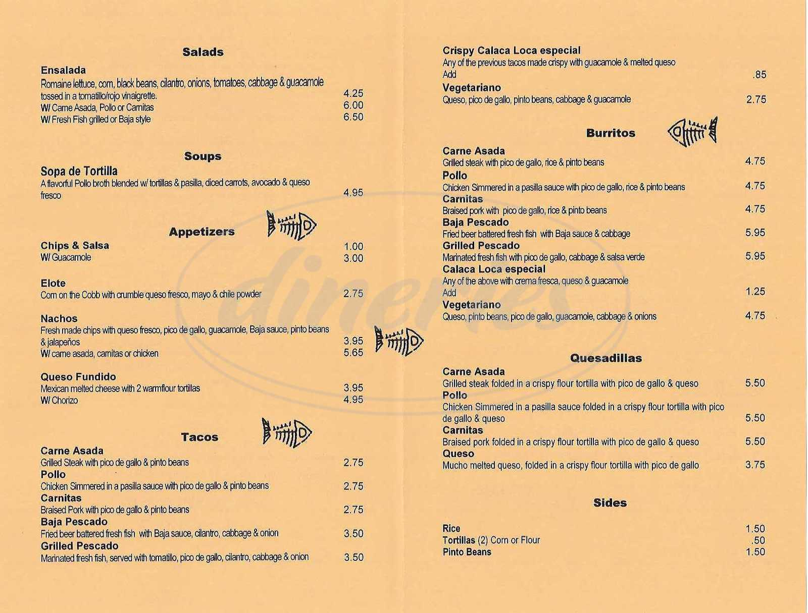 menu for La Calaca Loca