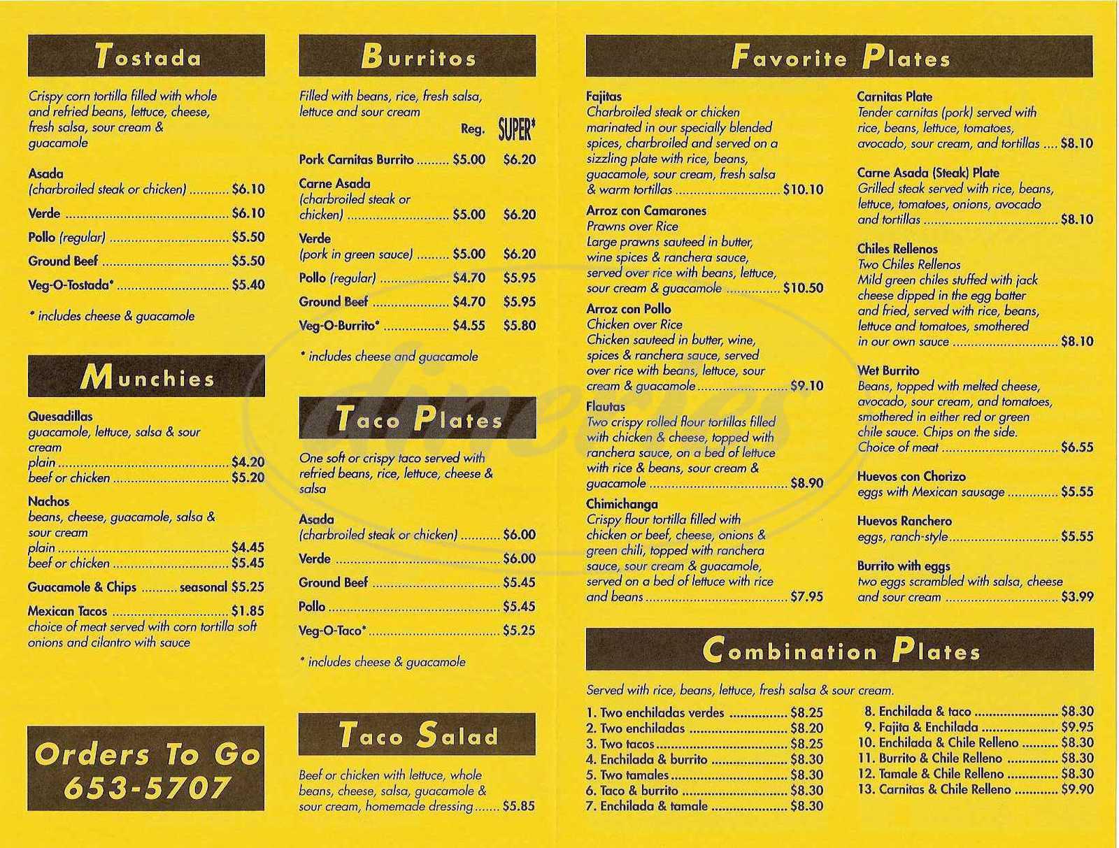 menu for Pico Pico Taqueria