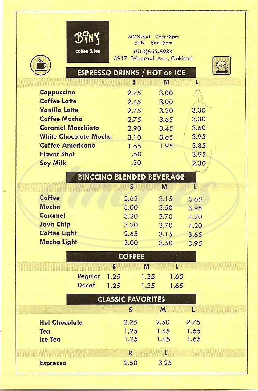 menu for Bin's Coffee & Tea