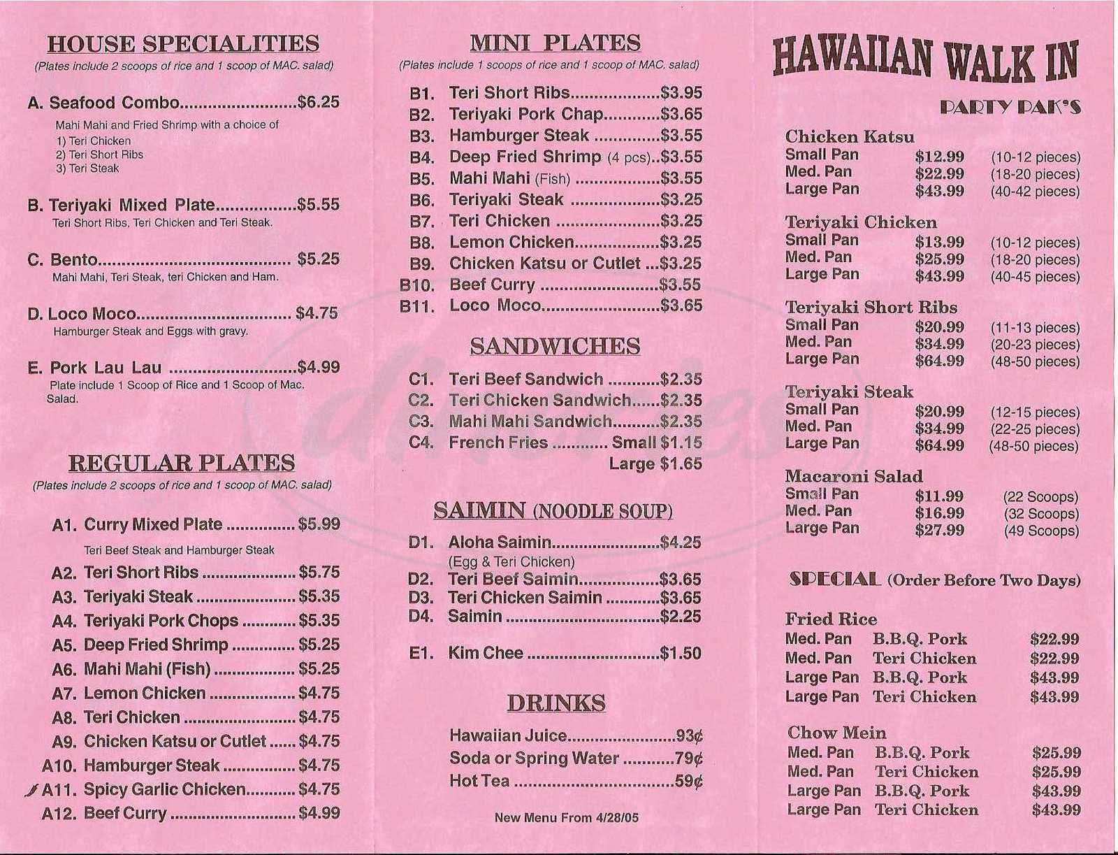 menu for Hawaiian Walk In