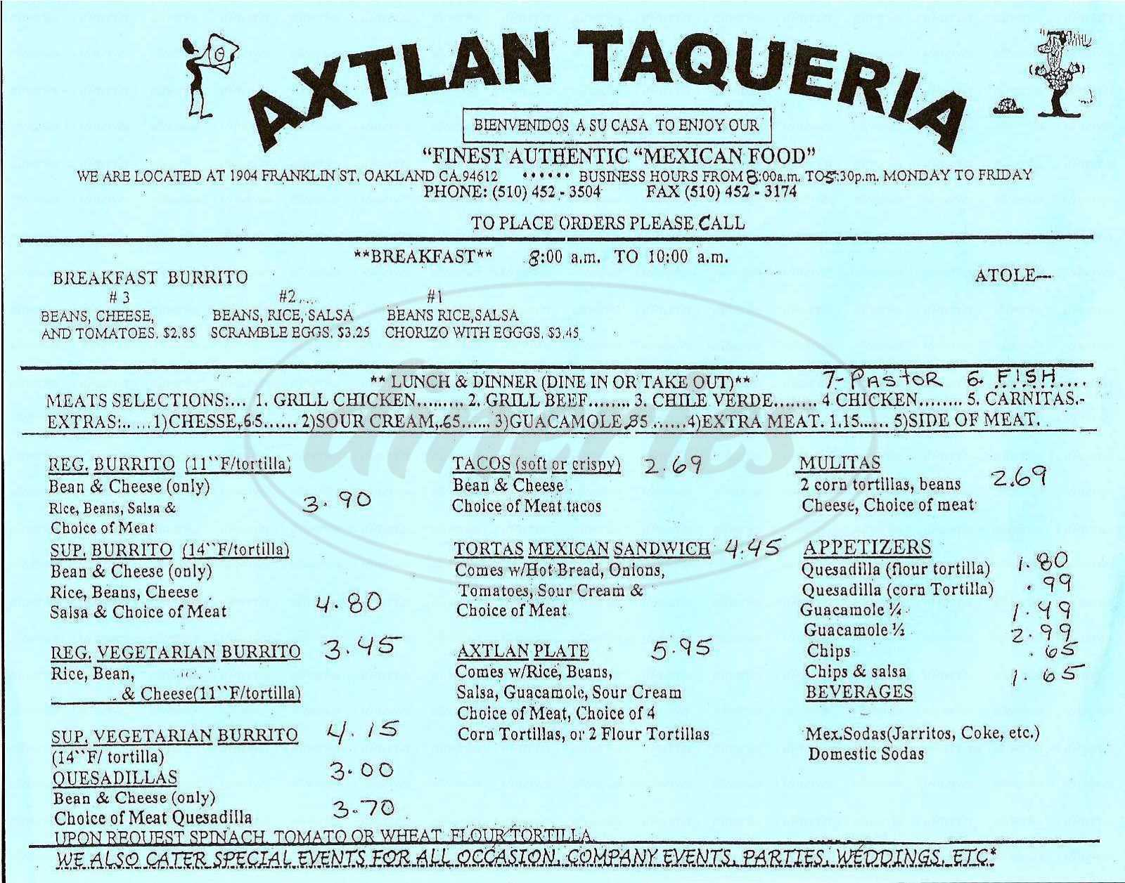 menu for Axtlan Taqueria