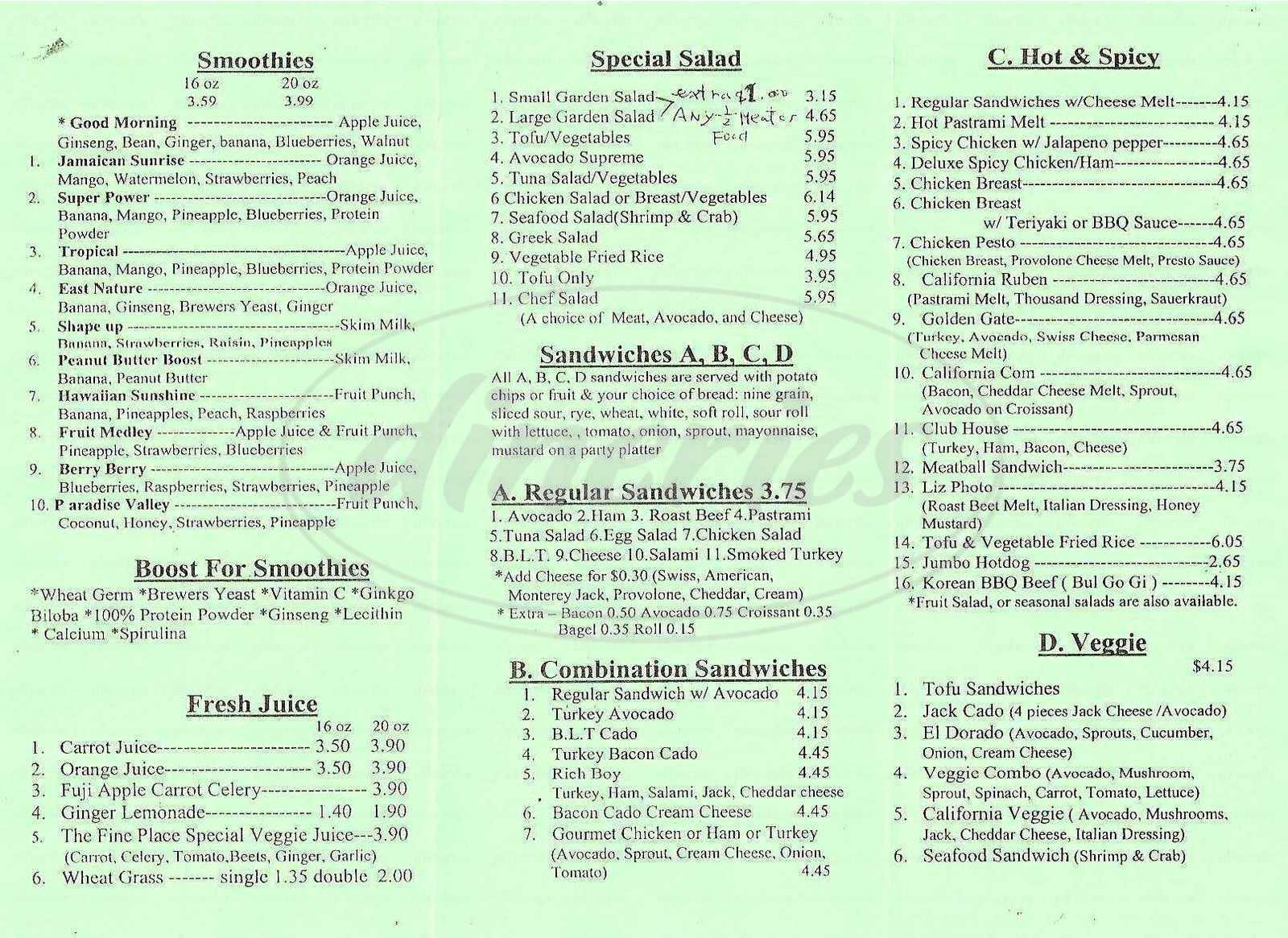 menu for The Fine Place