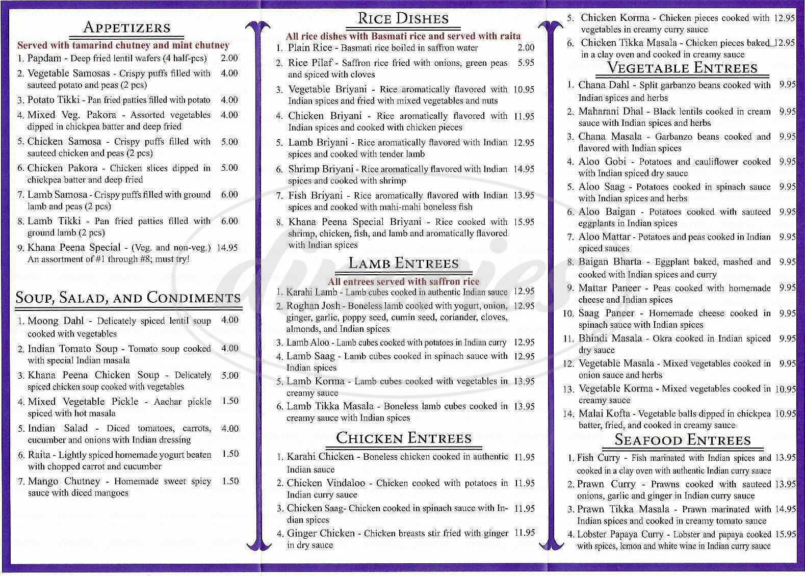 menu for Khana Peena