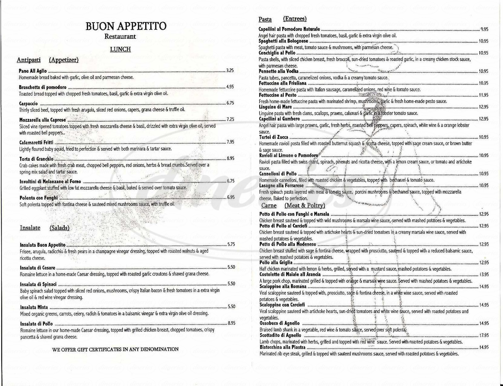 menu for Buon Appetito