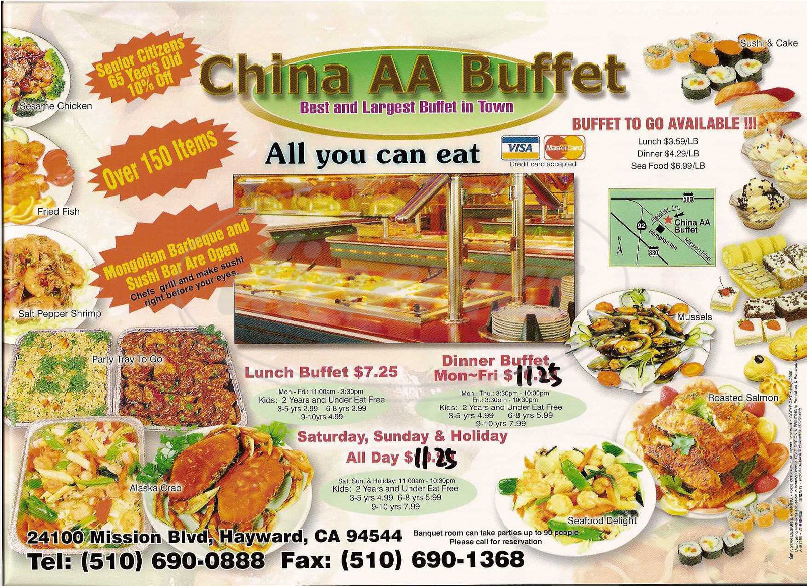 menu for Asian Buffet