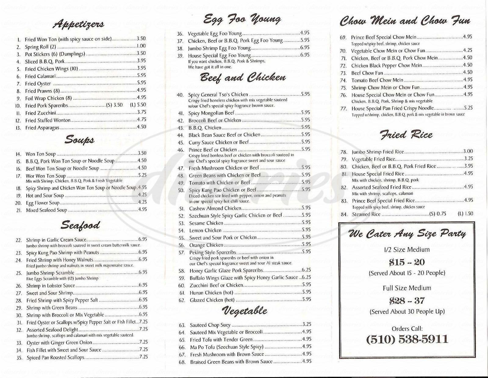 menu for Prince Beef