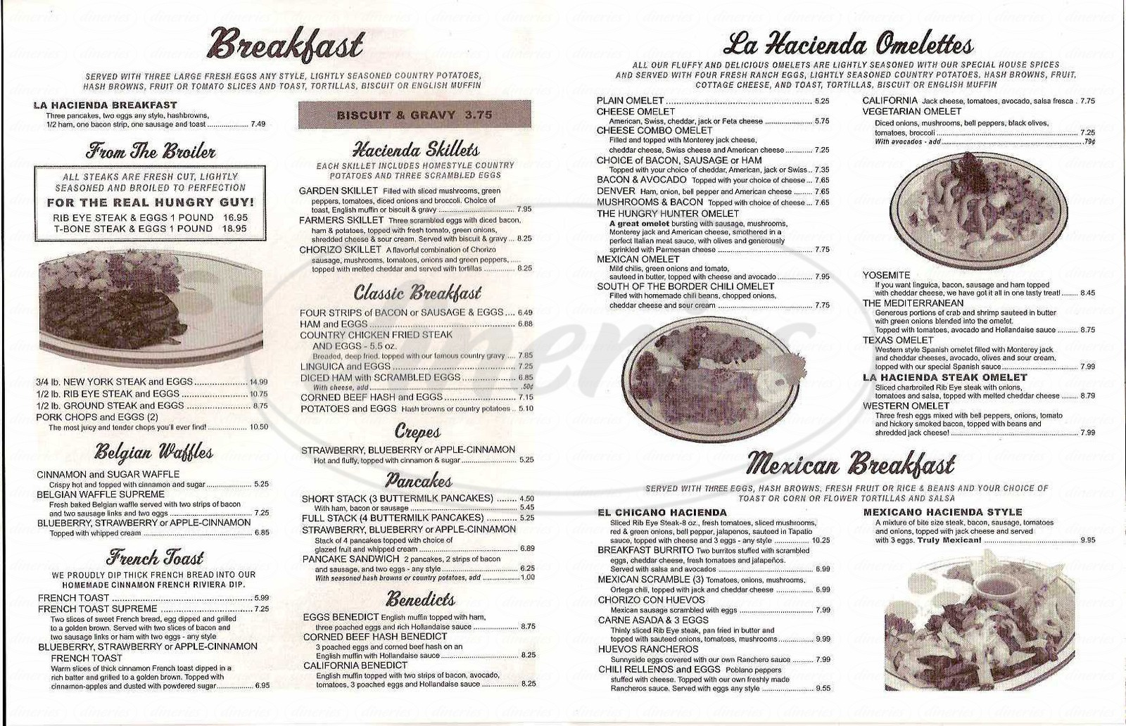 menu for La Hacienda Steak House