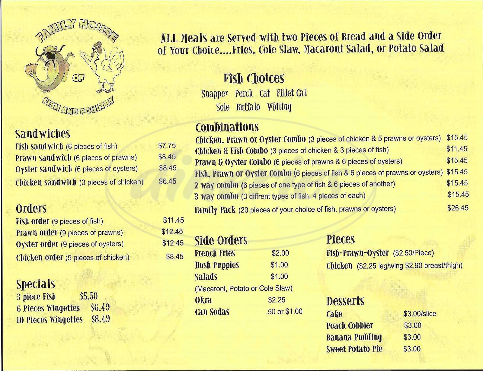 menu for Family House of Fish & Poultry
