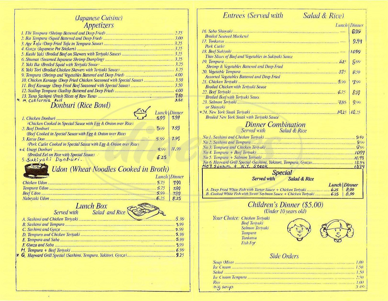 menu for Hayward Japan Grill