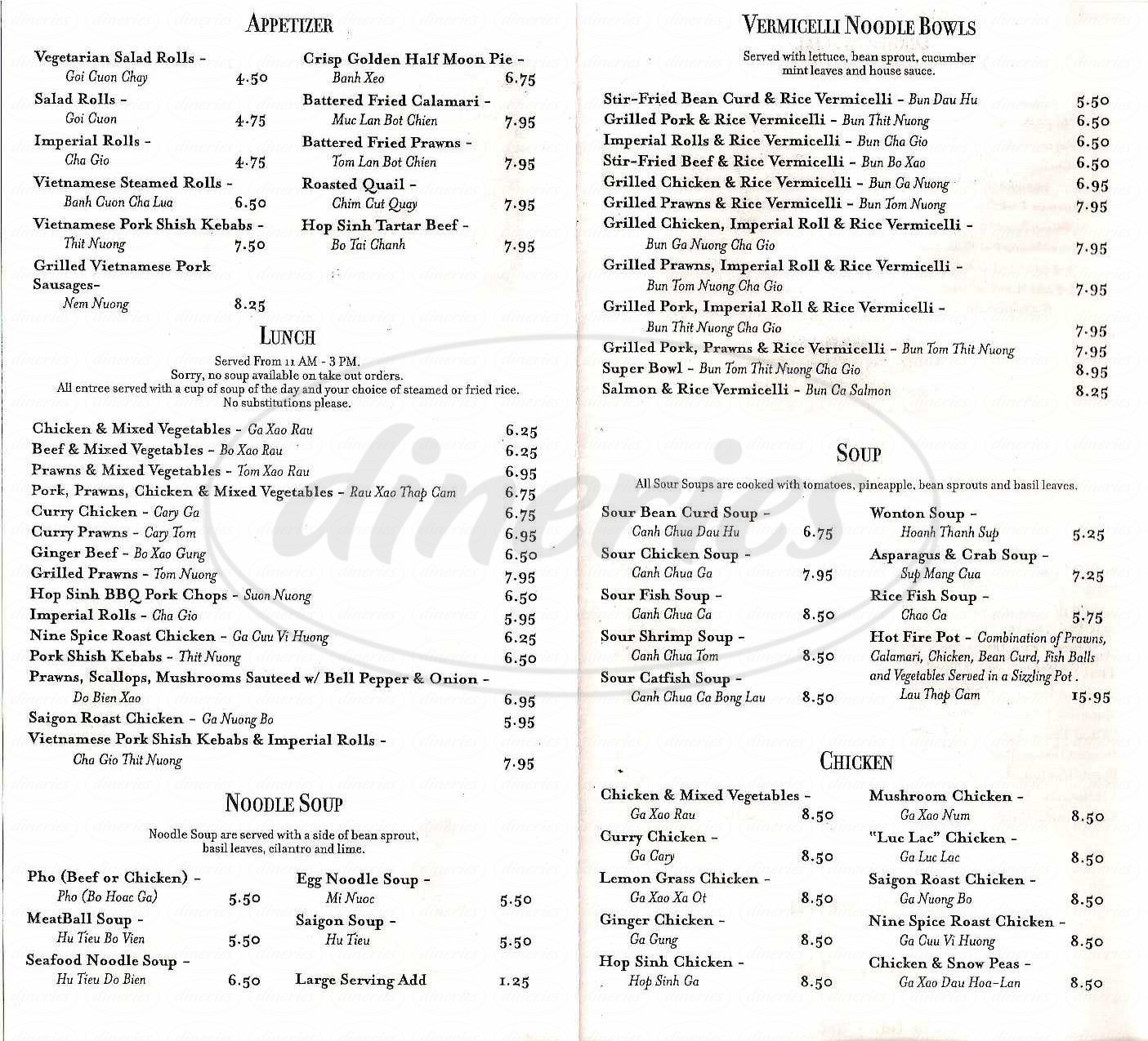 menu for Hop Sinh