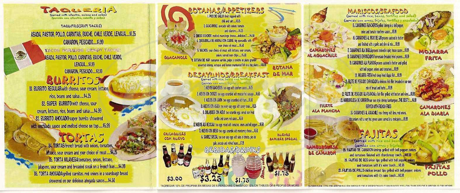 menu for La Casita