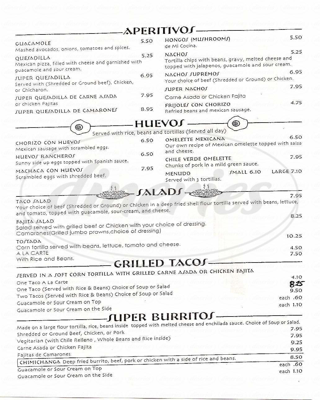 menu for Mi Cocina & Cantina