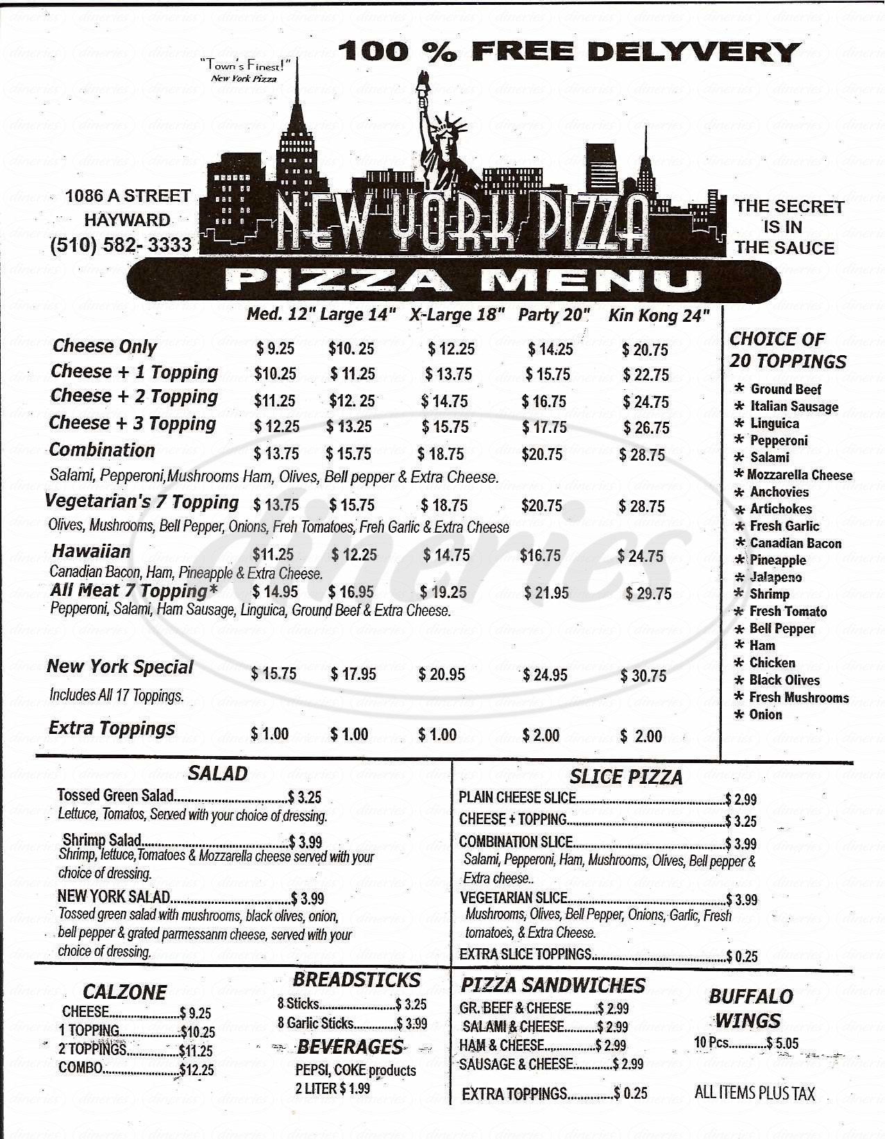 menu for New York Pizza