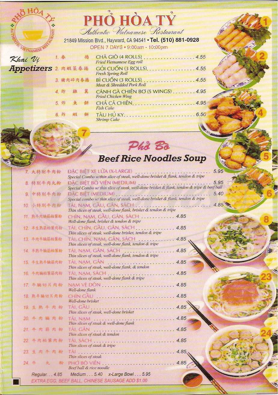 menu for Pho Hoa Ty