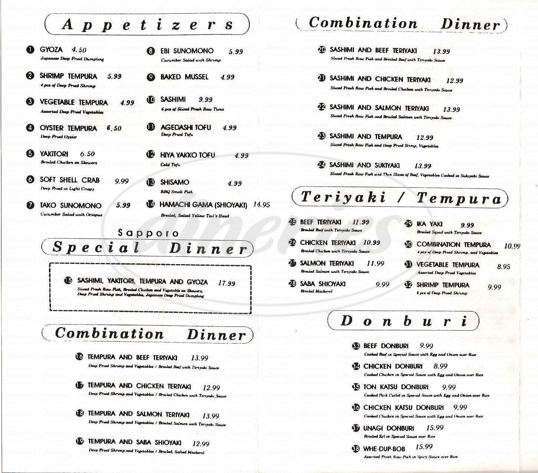 menu for Sapporo
