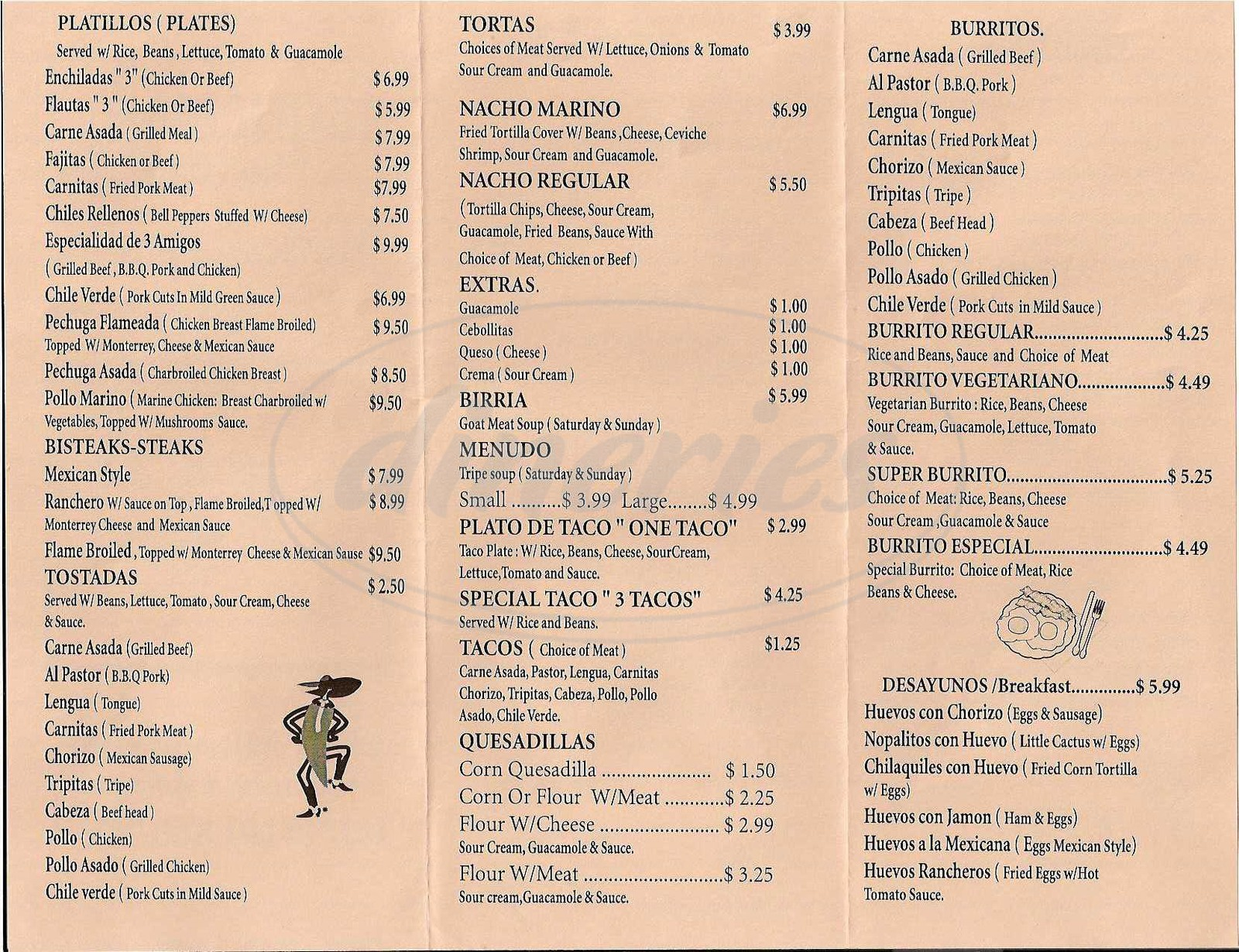 menu for Taqueria Mar y Terria