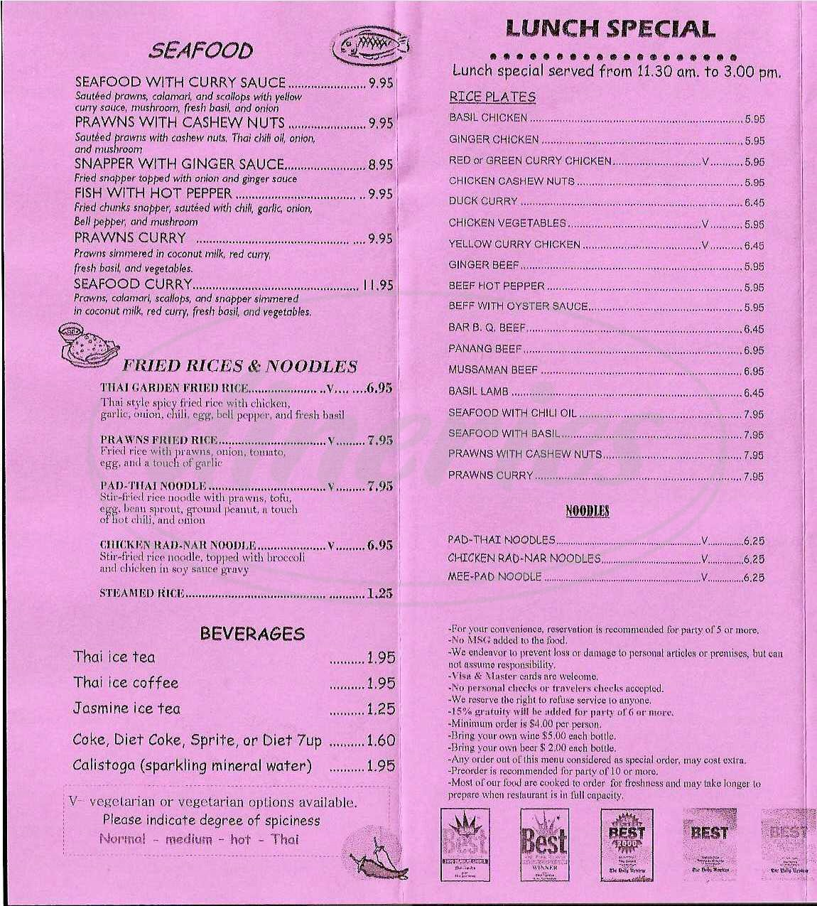 menu for Thai Garden