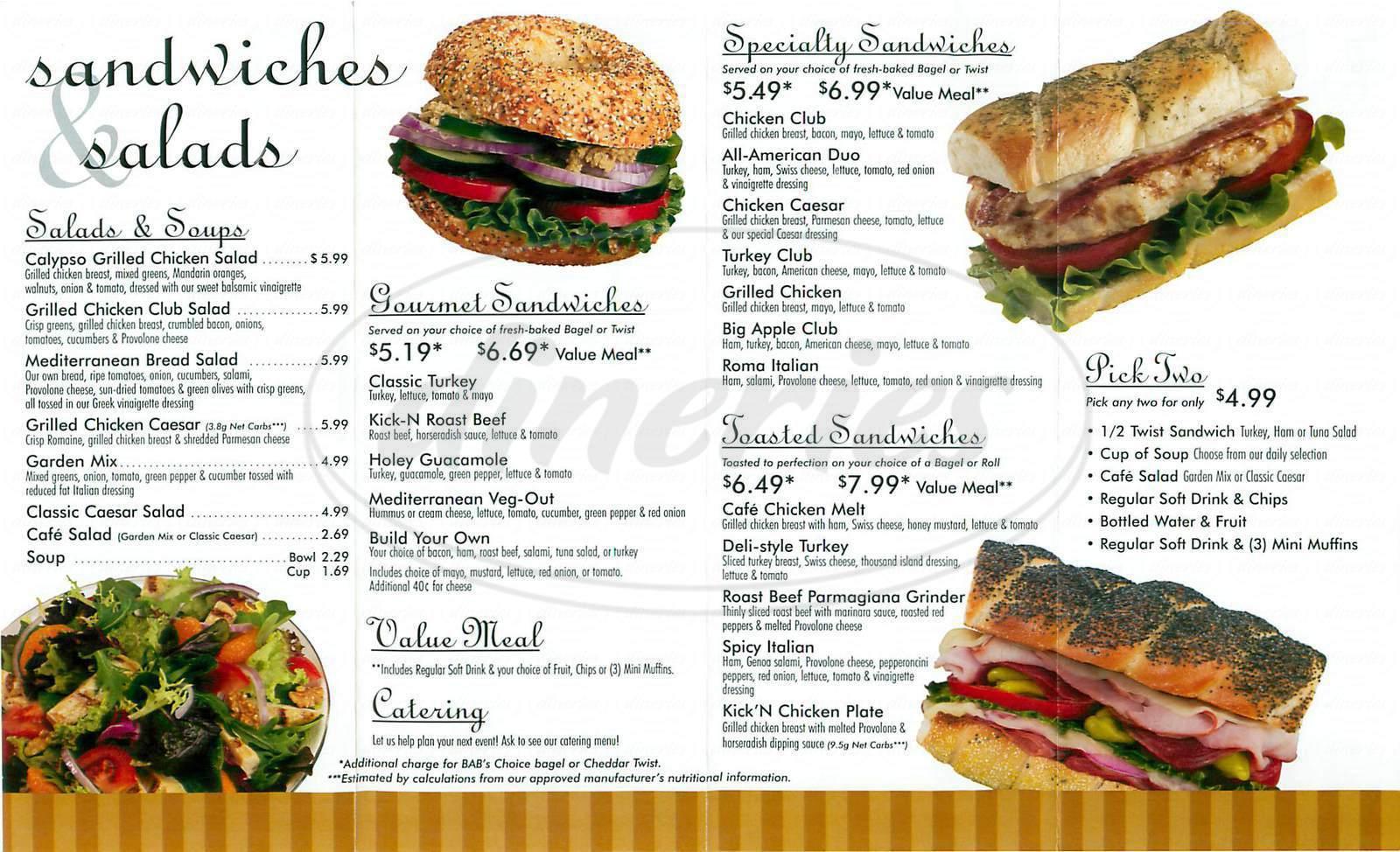 menu for Big Apple Bagels