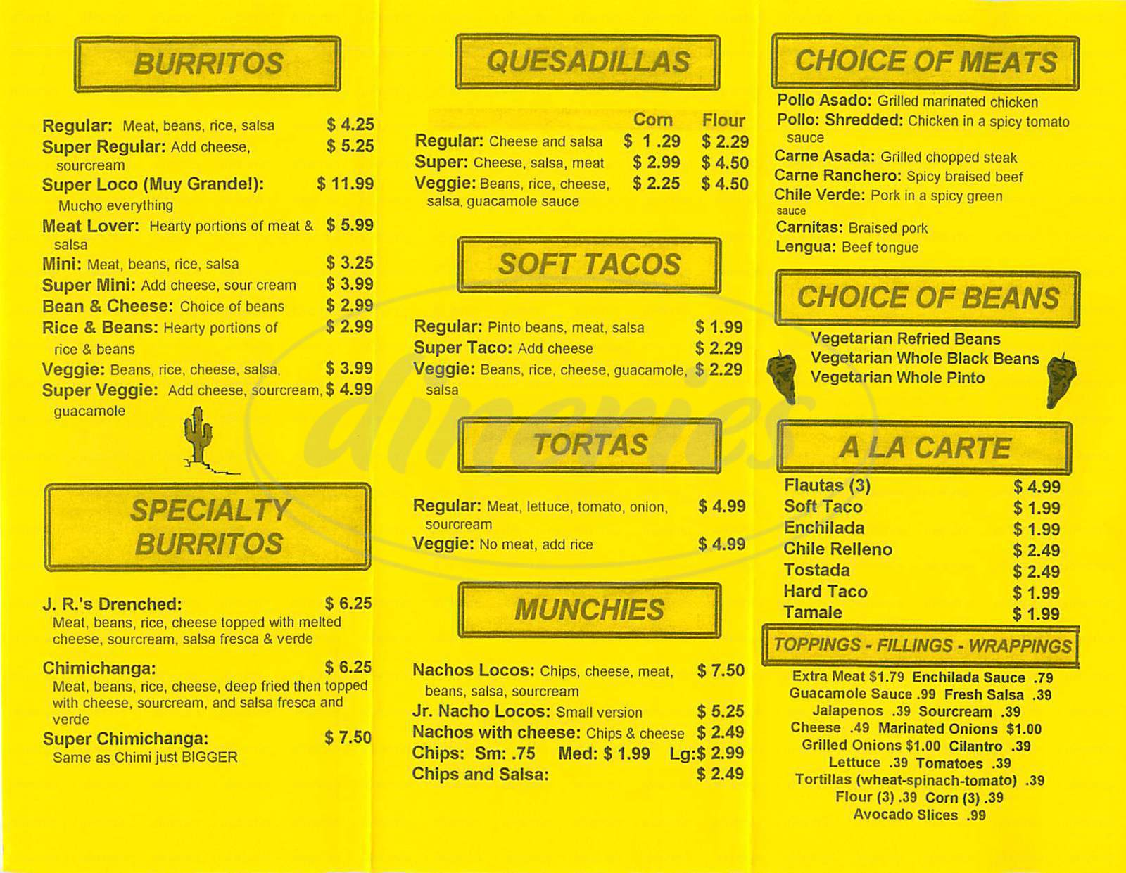 menu for Burrito Loco Taqueria