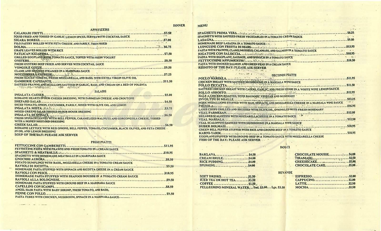 menu for Café Buona Serra