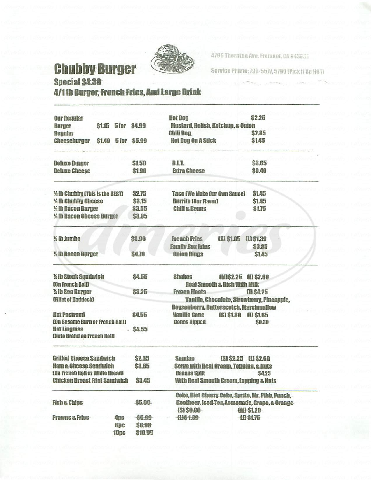 menu for Chubby Burger
