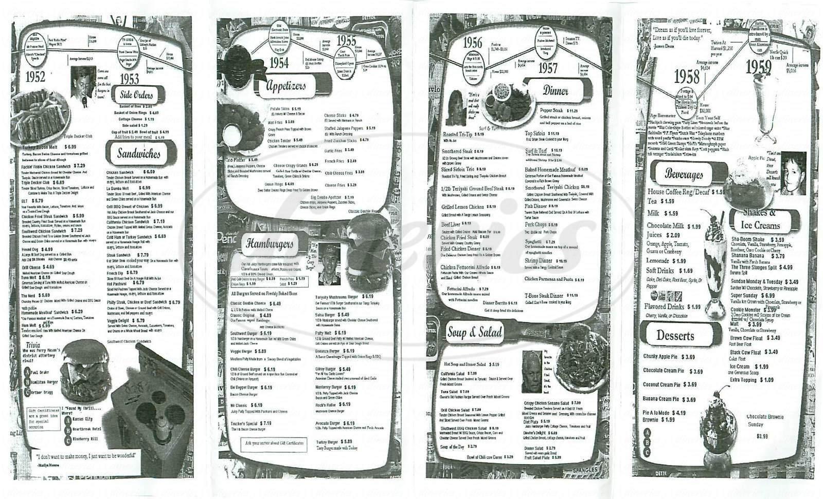menu for Classic Diner