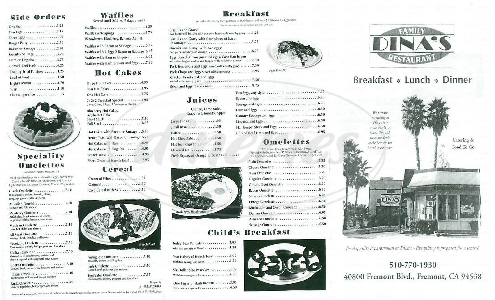 menu for Dina's Family Restaurant