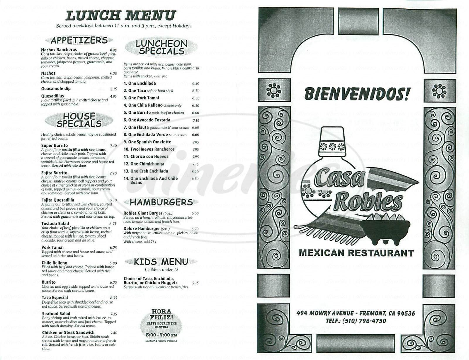 menu for Casa Robles