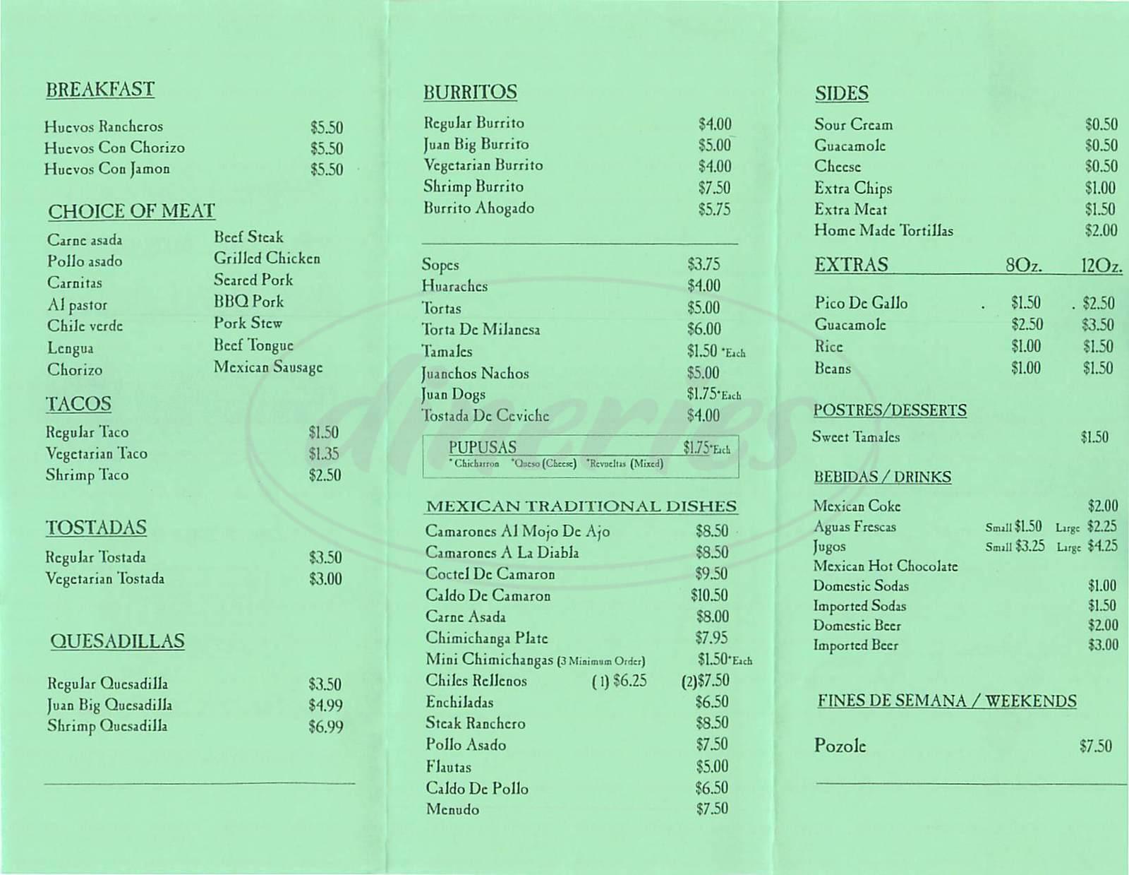 menu for Juan More Taco