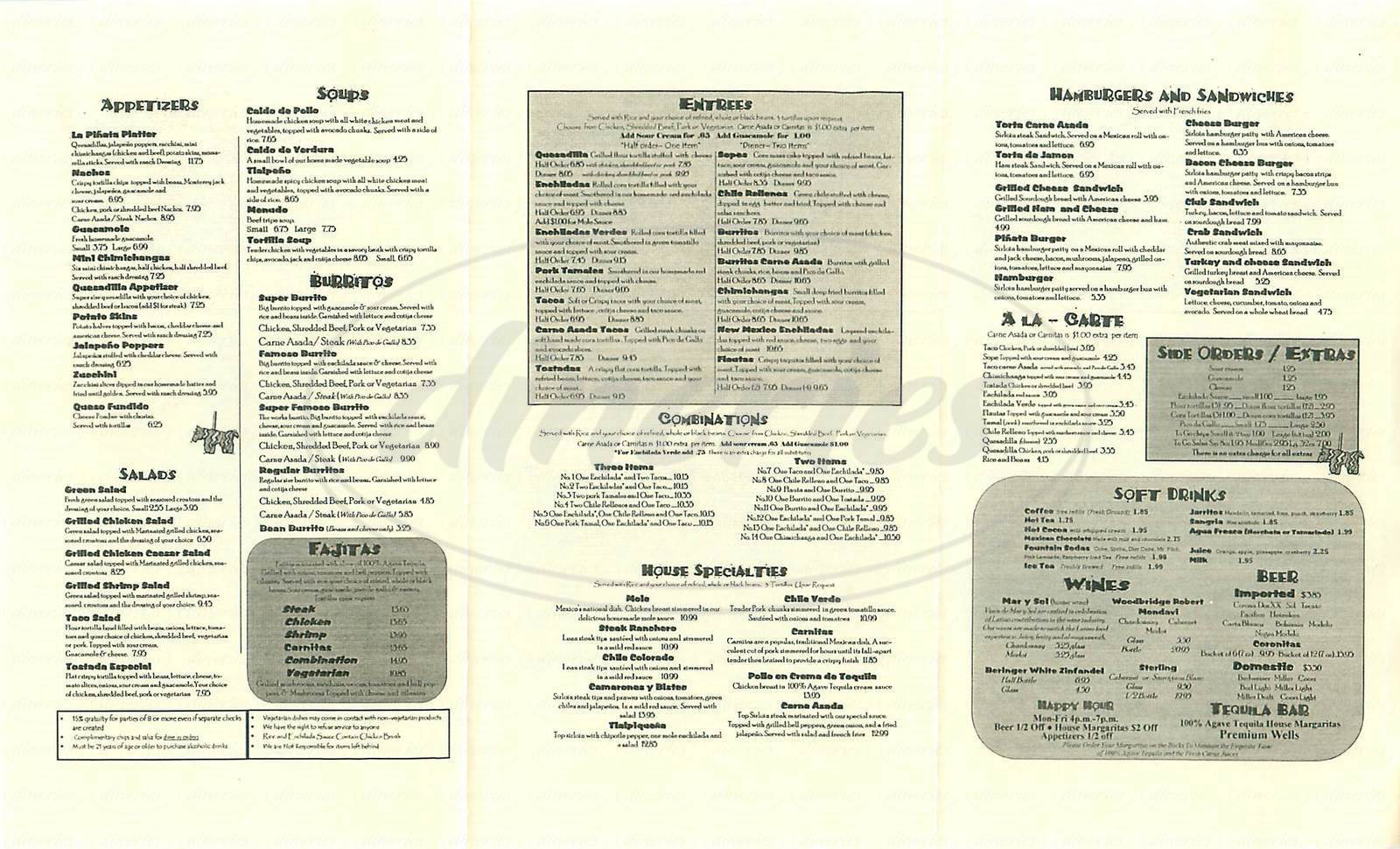 menu for La Pinata