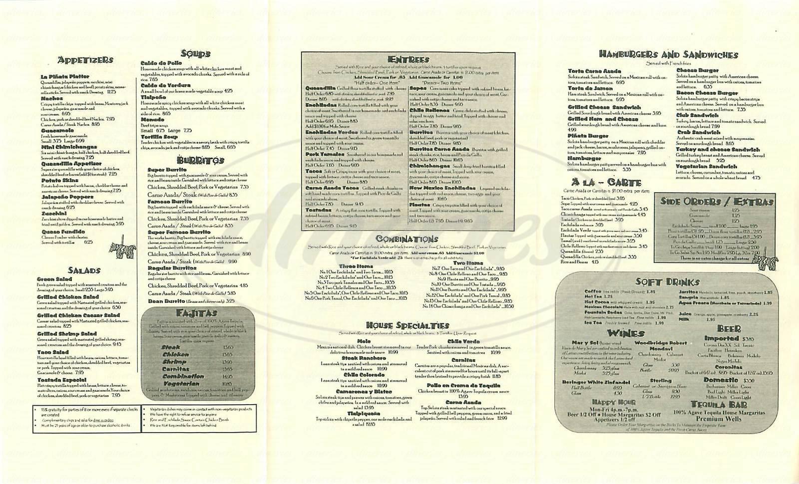 menu for La Pinata
