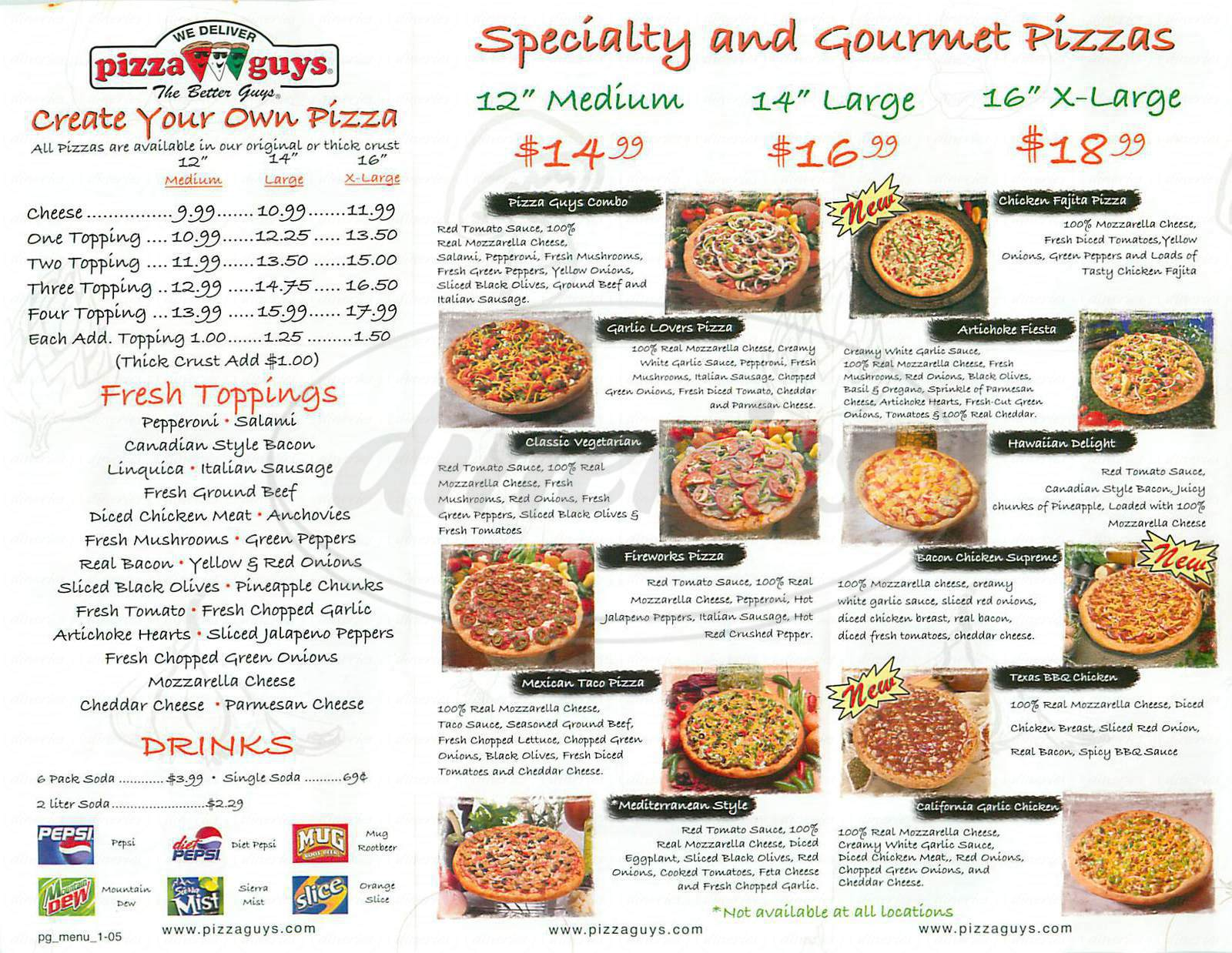 menu for Pizza Guys