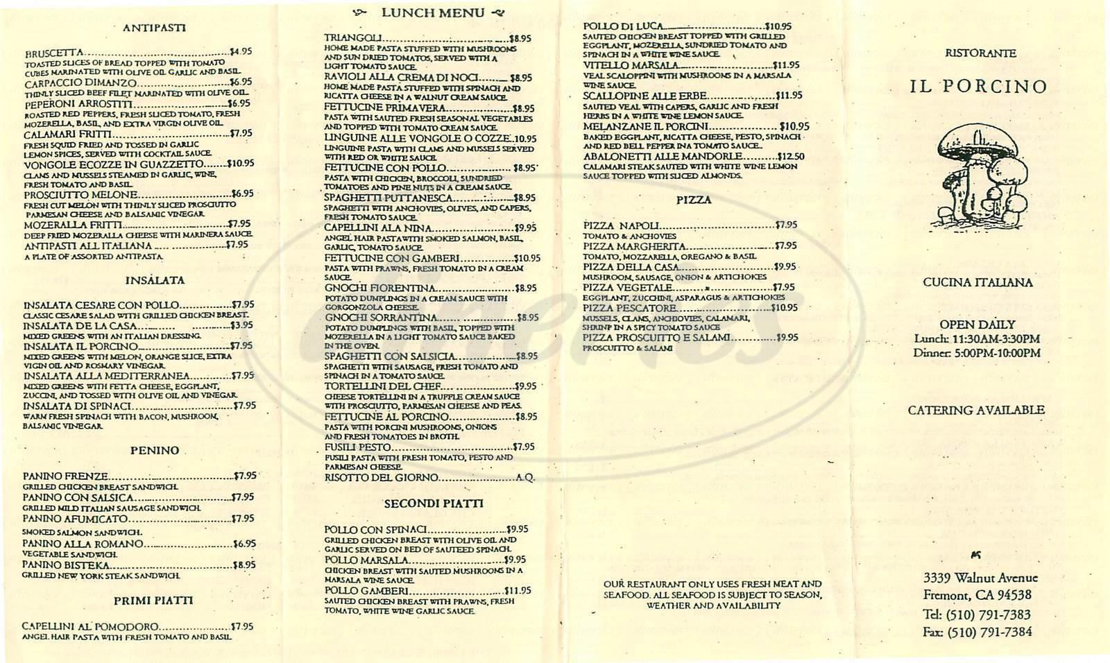 menu for Ristorante Il Porcino