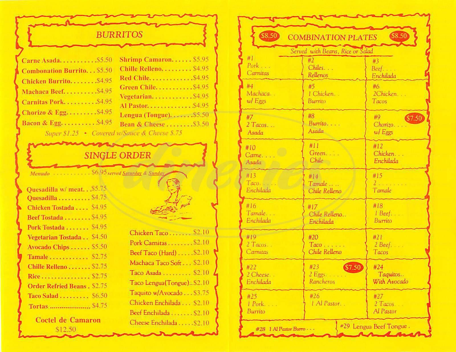 menu for Taqueria El Urge