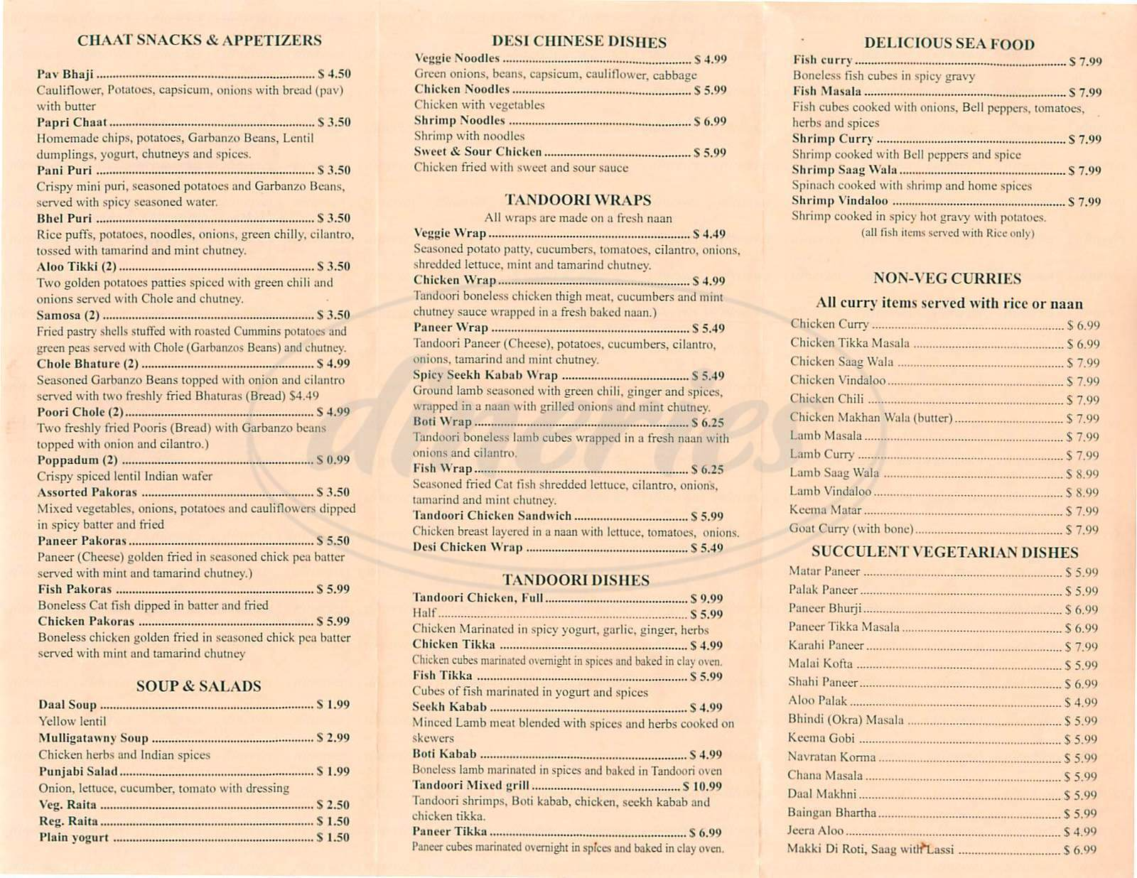 menu for Khana Khazana